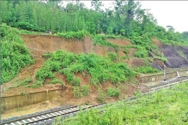 Landslide blocked railway Line