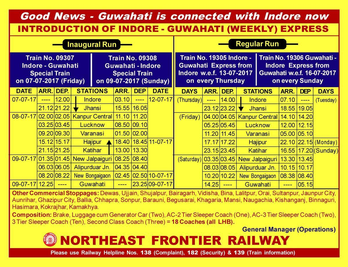 Western Railway Introduce New Express Train Between Indore and Guwahati